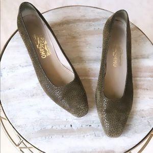 Salvatore Ferragamo Suede Spotted Heels size 9